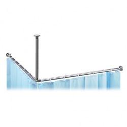 Tyč pro sprchový závěs, rohový, 90x90 cm, chrom