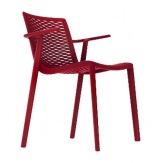 Plastová židle Net Kat s područkou, červená