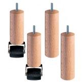 nožiček Premium - 6 nožičky, 3 kolečka, dřevo, výška 11 cm